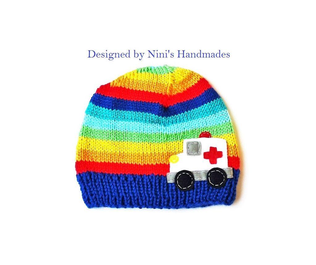 d8ed159e9a9 Rainbow striped Ambulance Hat  ambulance  ambulance clothing  ambulance  applique  kids clothing  boys clothing  boys beanies  rainbow hats   ninishandmades ...