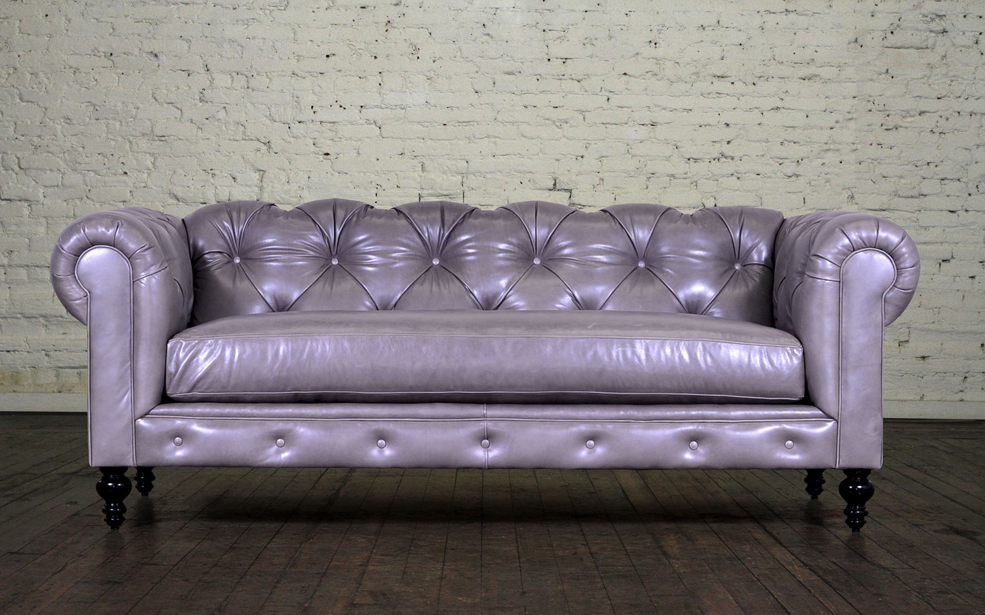 Classic Chesterfield Leather Sofa - Made in USA