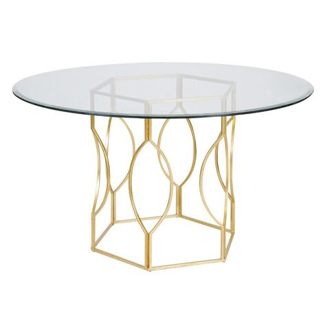 Gold Leafed Hex Dining Table Base With 54 Mirrored Glass Top From