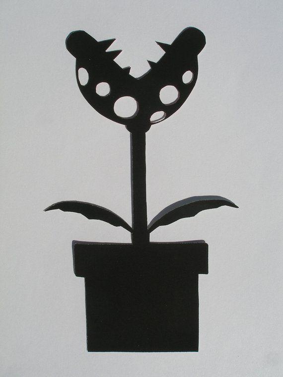 Piranha Plant Super Mario Brothers Hand Cut Paper Art