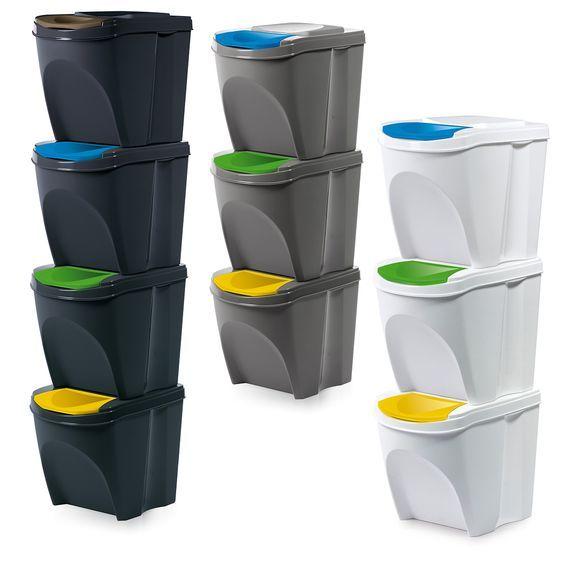 4er Set Mülleimer Küche Sortibox Abfalleimer waste bin 20 L in weiß