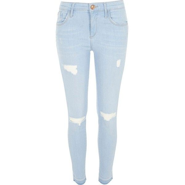 numerousinvariety world-wide selection of recognized brands River Island Light wash ripped Amelie superskinny jeans ($84 ...