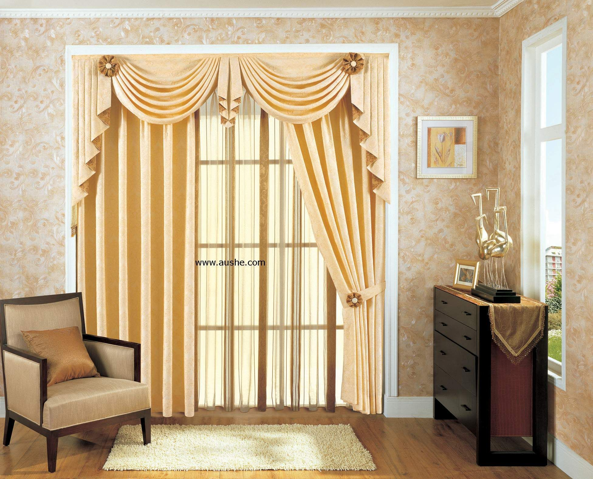 Interior elegant curtains for living room offers for 3 window curtain design