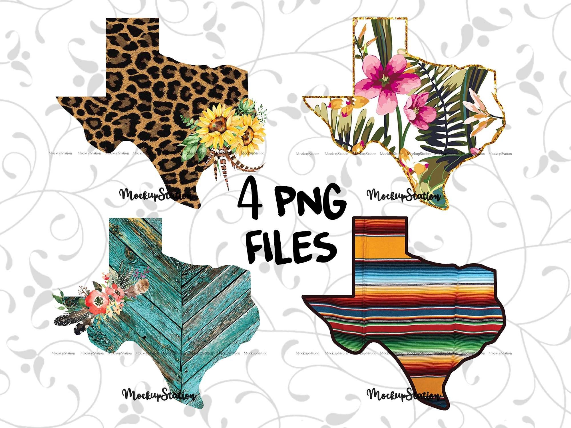 Texas Sublimation Png Bundle Tx State Boho Design Download Etsy Floral Imprimibles Texas