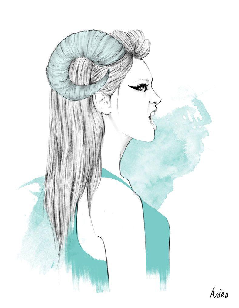 Zodiac Illustration Aries Female Spiritmbol Of Passion Shyness