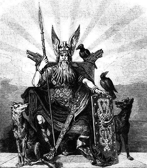 Image of Odin ravens huginn muninn and wolves geri freki Odin weapons