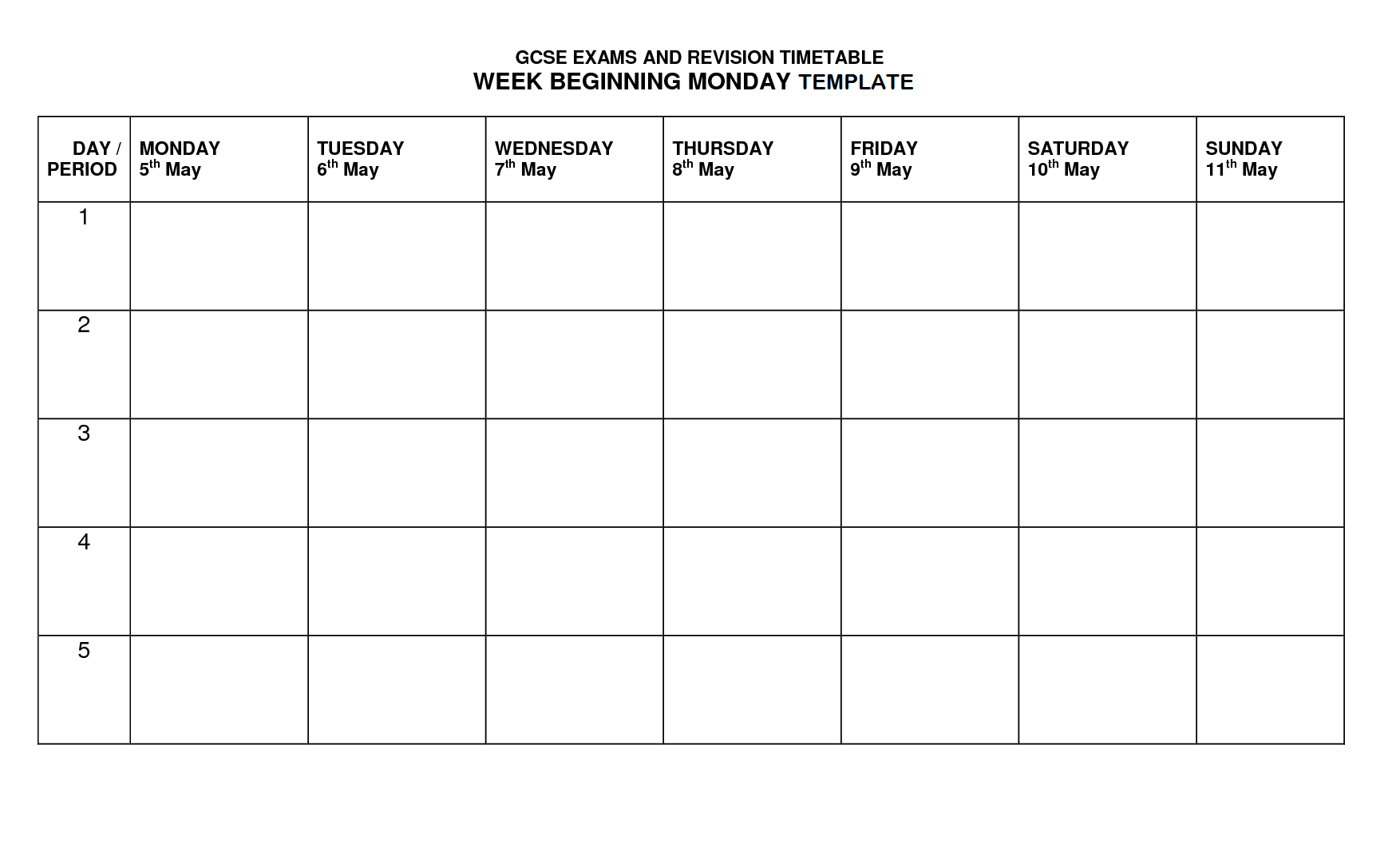merveilleux Timetable Template