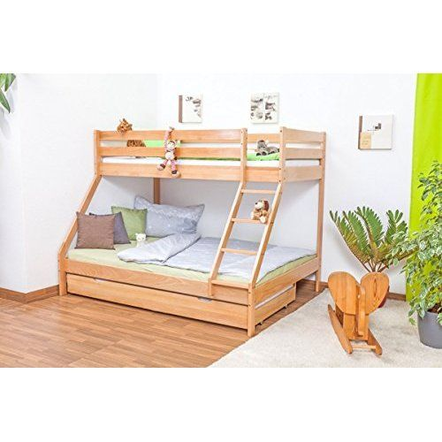 doppel etagenbett 140x200 cm und 90x200 cm f r erwachsene aufbewahrung. Black Bedroom Furniture Sets. Home Design Ideas