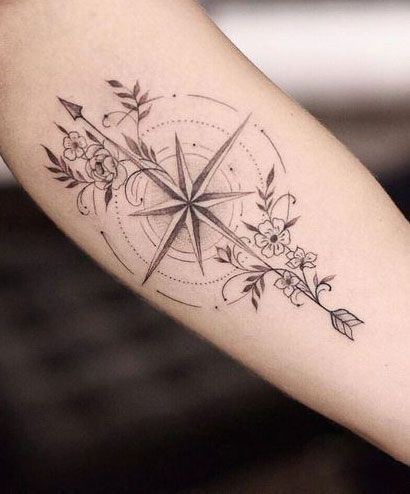Photo of –   – #compasstattoo #flowertattoo #moontattoo #naturetattoo #tinytattoo