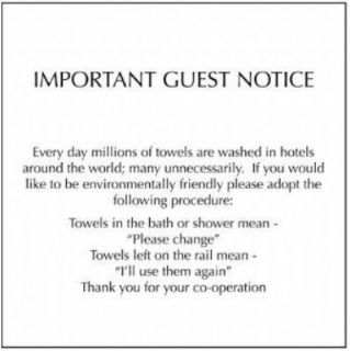 towel conservation notice | hotel towels, hotel, small