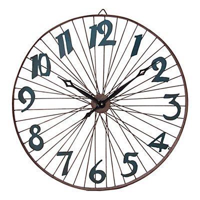 Reloj de pared plateado y azul  81 x 7 x 81 cm