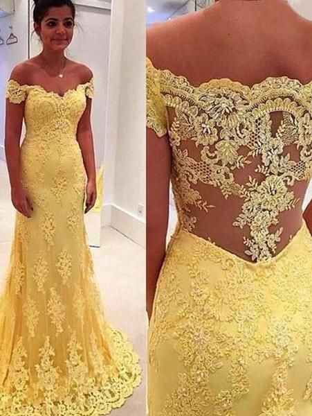 Elegant Sheath Yellow Lace Off Shoulder Long Prom Dresses uk PM662 ...