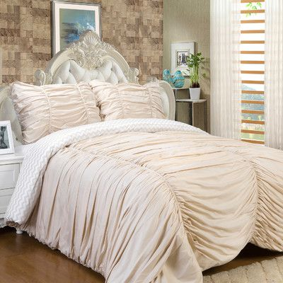 Sweet Home Collection Isabella 3 Piece Reversible Comforter Set Color: Cream, Size: Queen