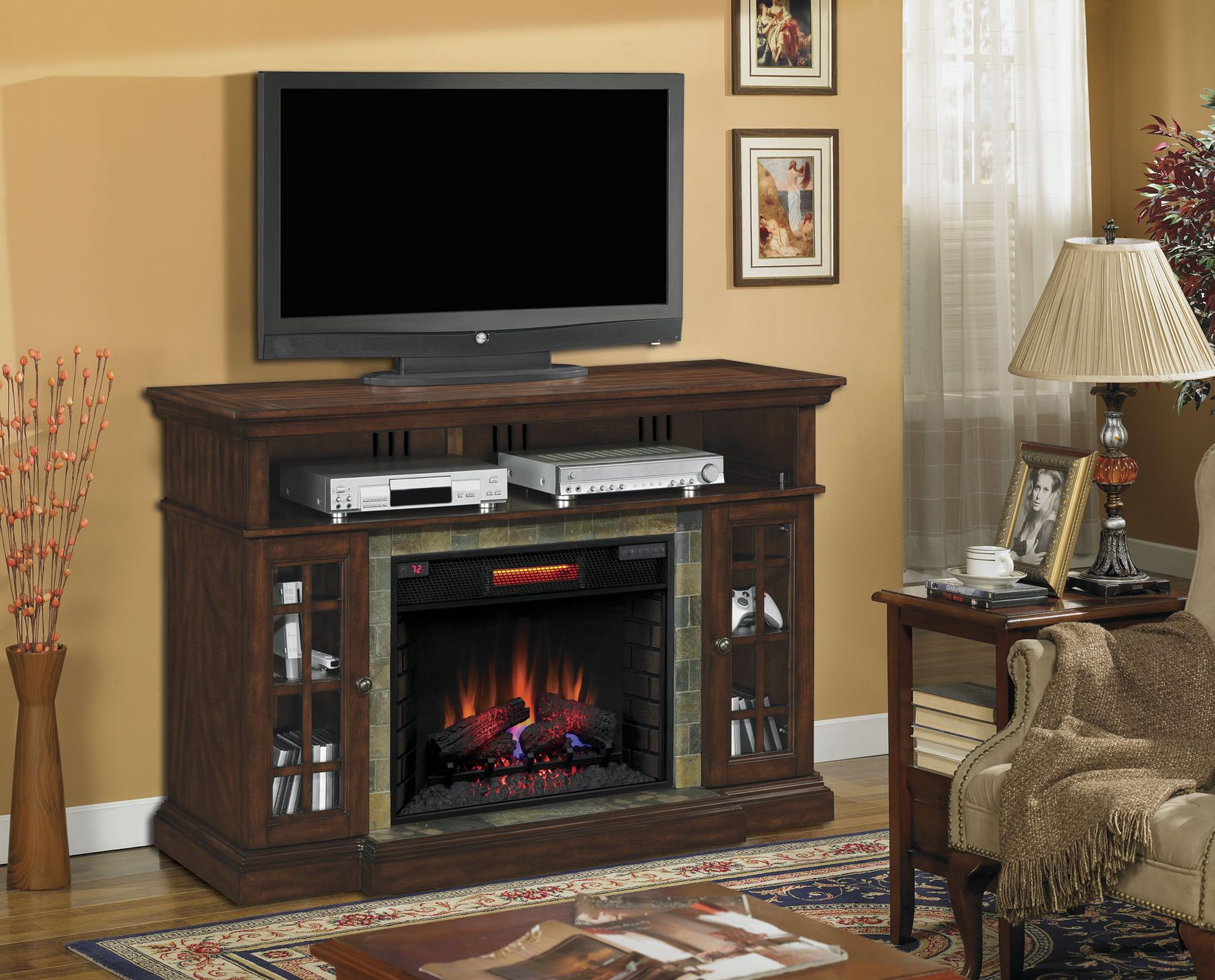 Classic flame belmont 60 quot tv stand with electric fireplace - The Lakeland S Roasted Cherry Finish And Real Slate Surround Combined With The Elegance Of A Classicflame Electric Fireplace Insert