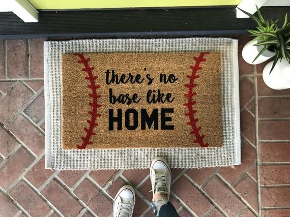 Photo of Baseball Doormat /Baseball Gift / No Base Like Home / Spring Doormat / Baseball Decor / Father's Day Gift / Sports Doormat / Front Door Mat