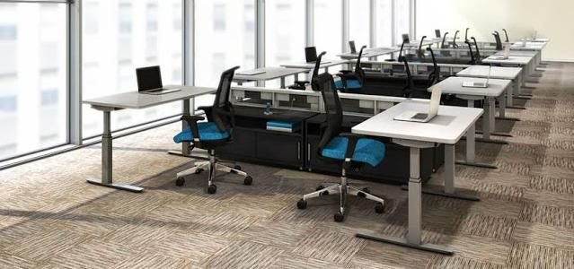Shop a variety of professional ergonomic furniture including tables, desks, and modular workstations for sale at OfficeAnything.com for your business today. #ErgonomicFurniture #ModernOffice #OfficeInteriors