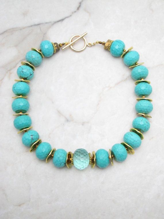 Turquoise Necklace.Statement Necklace.Chunky Necklace.Big Bold Necklace.Boho Necklace.Bohemian Necklace.Turquoise Choker. ROCK STEADY