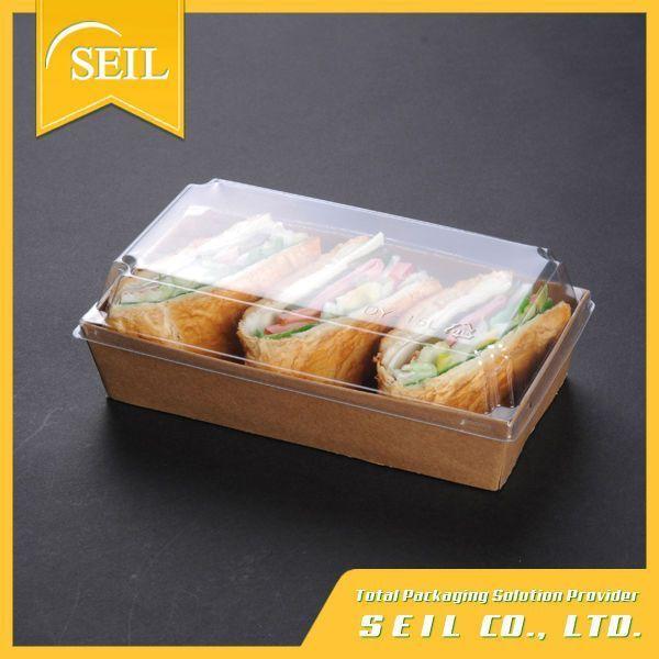 kraft papel desechable caja de comida para llevar de papel envase de alimento sandwich