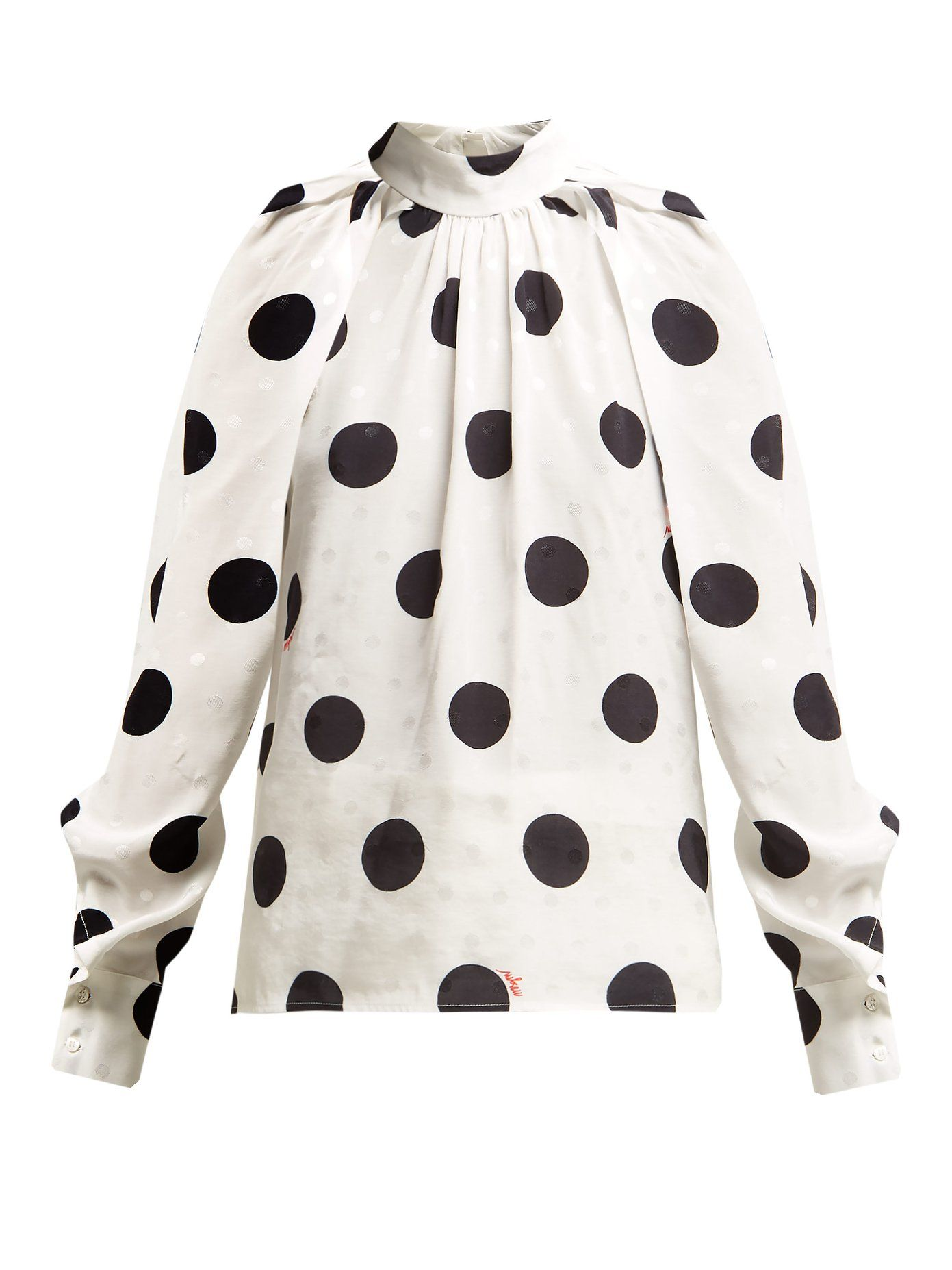 9ff67d30cef Polka-dot jacquard blouse | MSGM | Fashion Lust | White cropped ...