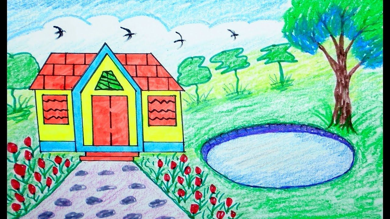 How to draw scenery house mountain draw for beginners draw for kids