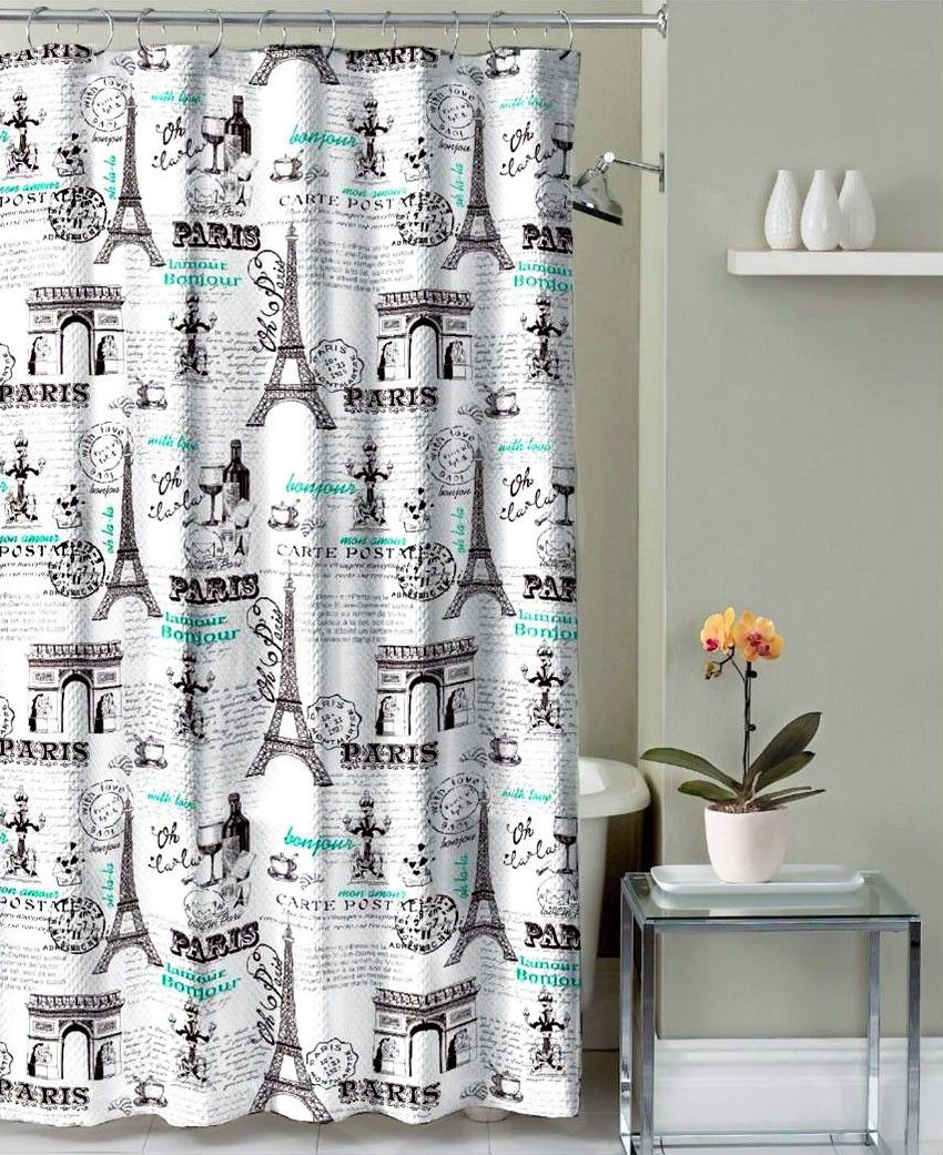 Crest Home Bathroom Shower Curtain Polyester Fabric Paris Eiffel Tower Design