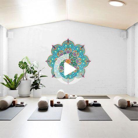 Beautiful Turquoise Mandala, Yoga Studio Design, Vinyl Wall Decal, Mandala Art, Large Wall Stencil,
