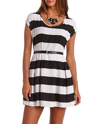 Striped & Belted Skater Dress: Charlotte Russe