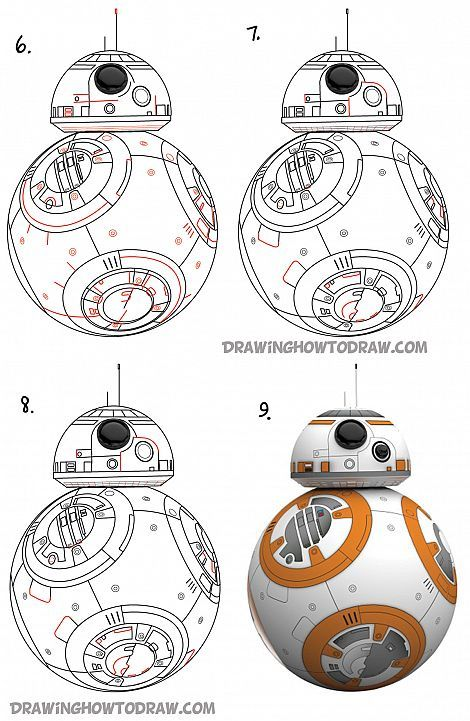 Bb8 Drawing : drawing, (Beeby-Ate), Droid, Drawing, Tutorial, Tutorials, Tegning,
