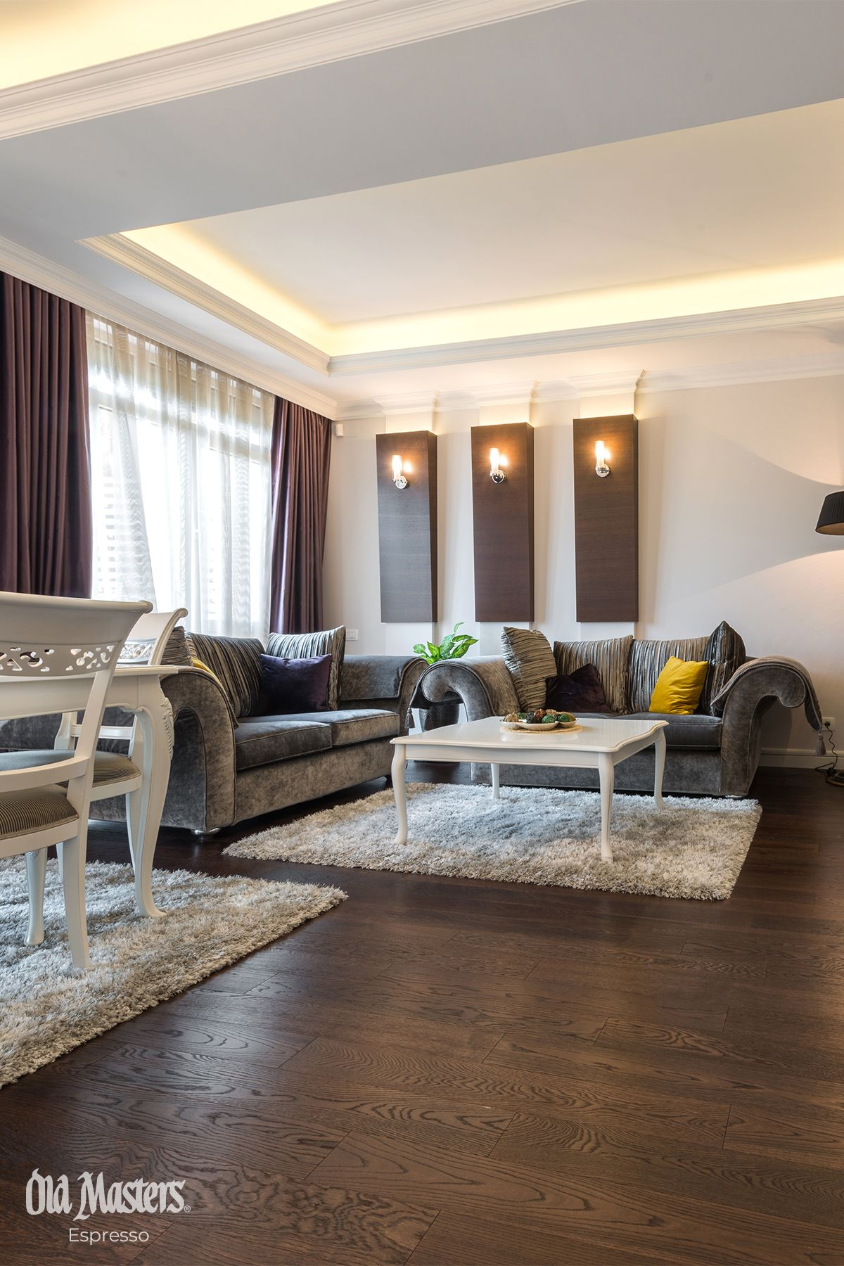 White And Brown Living Room With Dark Stained Wood Floor Brown Living Room Dark Stained Wood Floors Brown Walls Living Room
