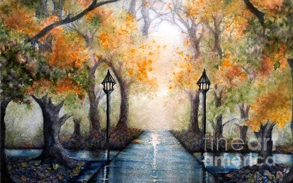 A Walk in the Park in Autumn. wide Horizon view. ESU College Campus East Stroudsburg. Yellow Autumn Leaves falling in the rainy day / Misty Park Watercolor Painting by Janine Riley  #ESU #eaststroudsburg #rainydays #riley #autumnleavesfalling