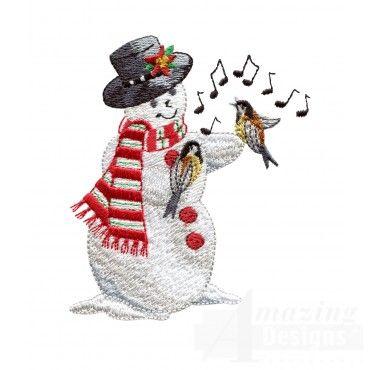 Snowman With Singing Birds