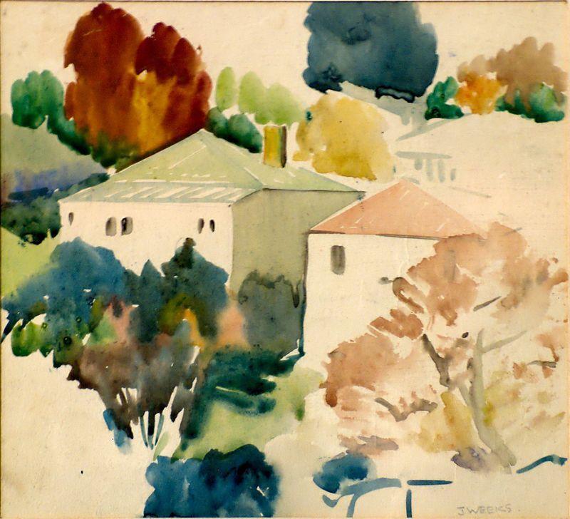 Watercolour Sketch By John Weeks Circa 1950 Sketch Drawing