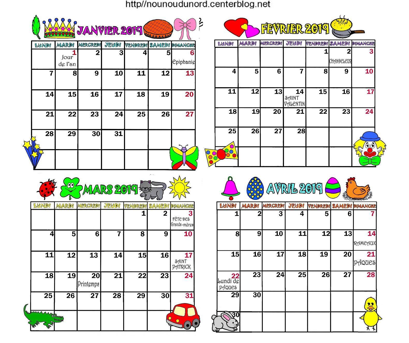 Épinglé par Rollande Beland sur calendrier | Calendrier 2019 à