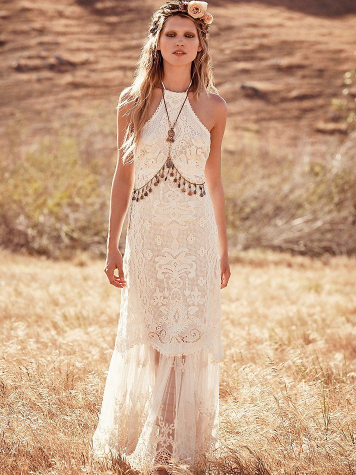 This Is So Unique A Lace Halter Wedding Dress Love The Crochet