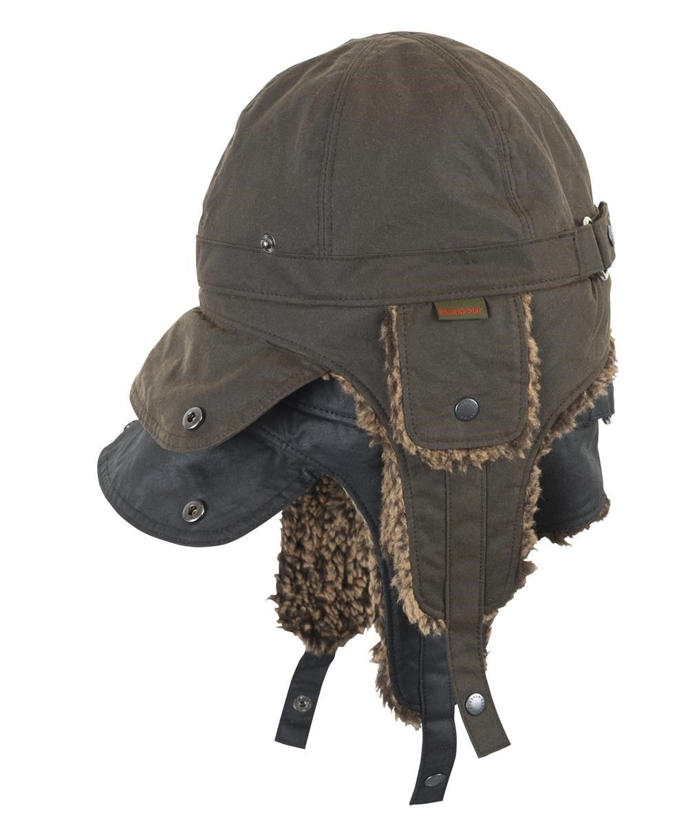 Womens Barbour Waxed Flying Hat - Olive and Black  a681f877c7ec