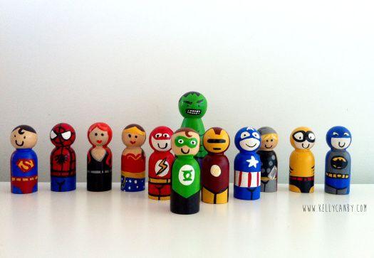 Superhero peg dolls #superhero #crafts #superherocrafts