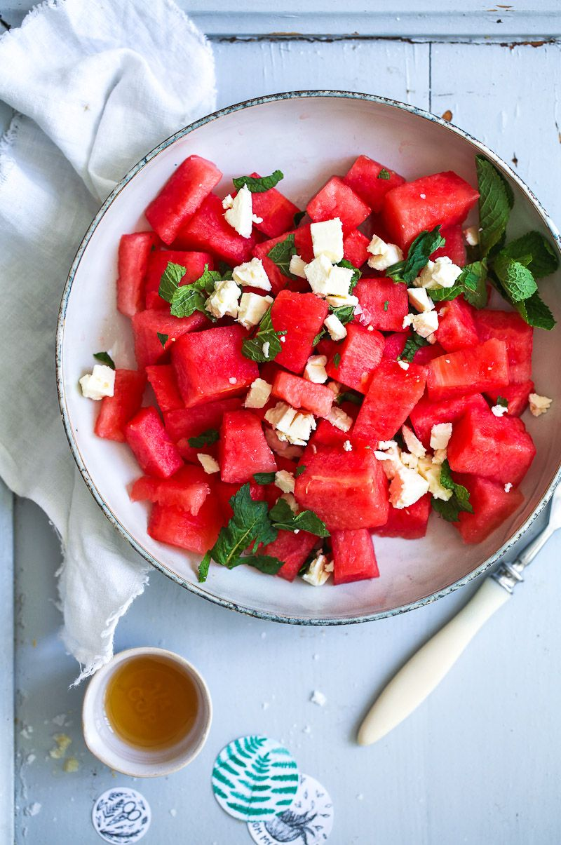 wassermelonen feta salat mit minze rezept food pinterest salat salat rezepte und feta. Black Bedroom Furniture Sets. Home Design Ideas