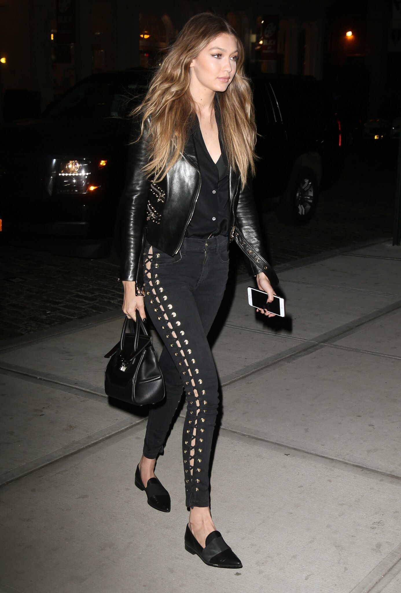 Gigi hadid in all black ensemble out in new york