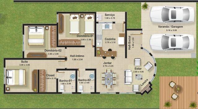 Casa de una planta tres dormitorios y 111 metros for Casa de dos plantas de 70 metros cuadrados