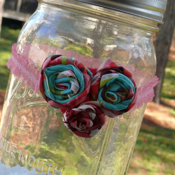 Handmade Headband with Rolled Flowers in  P by ButterBeansChicPeas, $5.00
