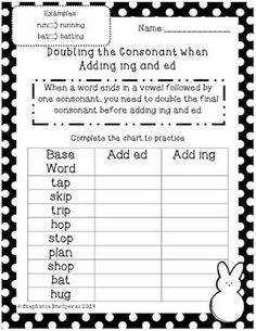 adding ing and ed double final consonants formative assessment literacy and activities. Black Bedroom Furniture Sets. Home Design Ideas