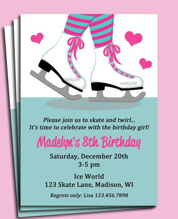 ice skating invitation printable or