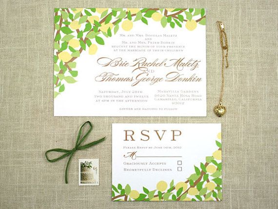 lemon tree yellow and green wedding invitation by sofiainvitations