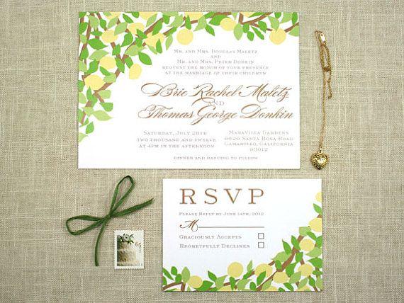 Lemon Tree Yellow And Green Wedding Invitation By Sofiainvitations