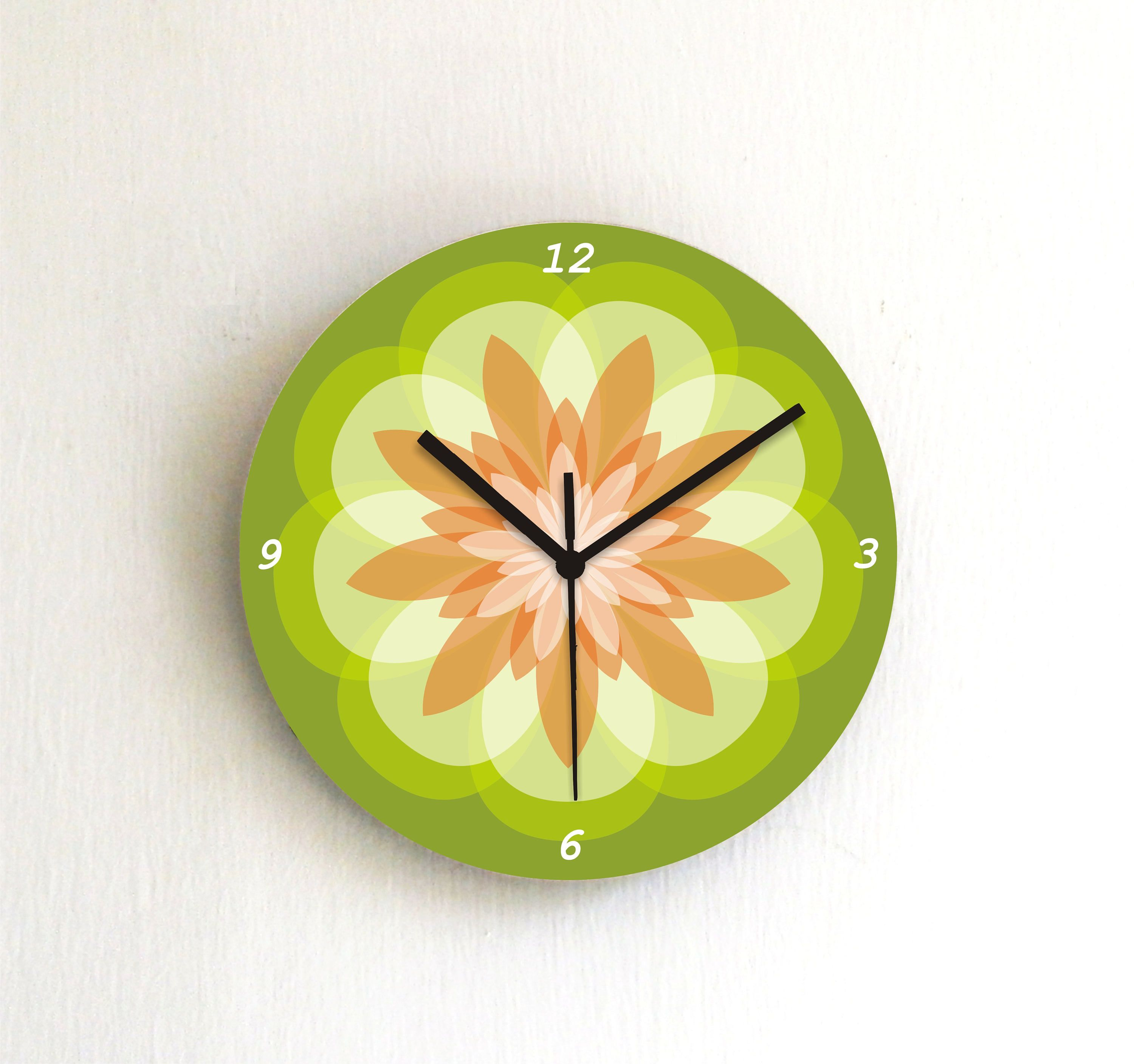 Green mandala pastel wall clock,geometric wooden printed patterned ...