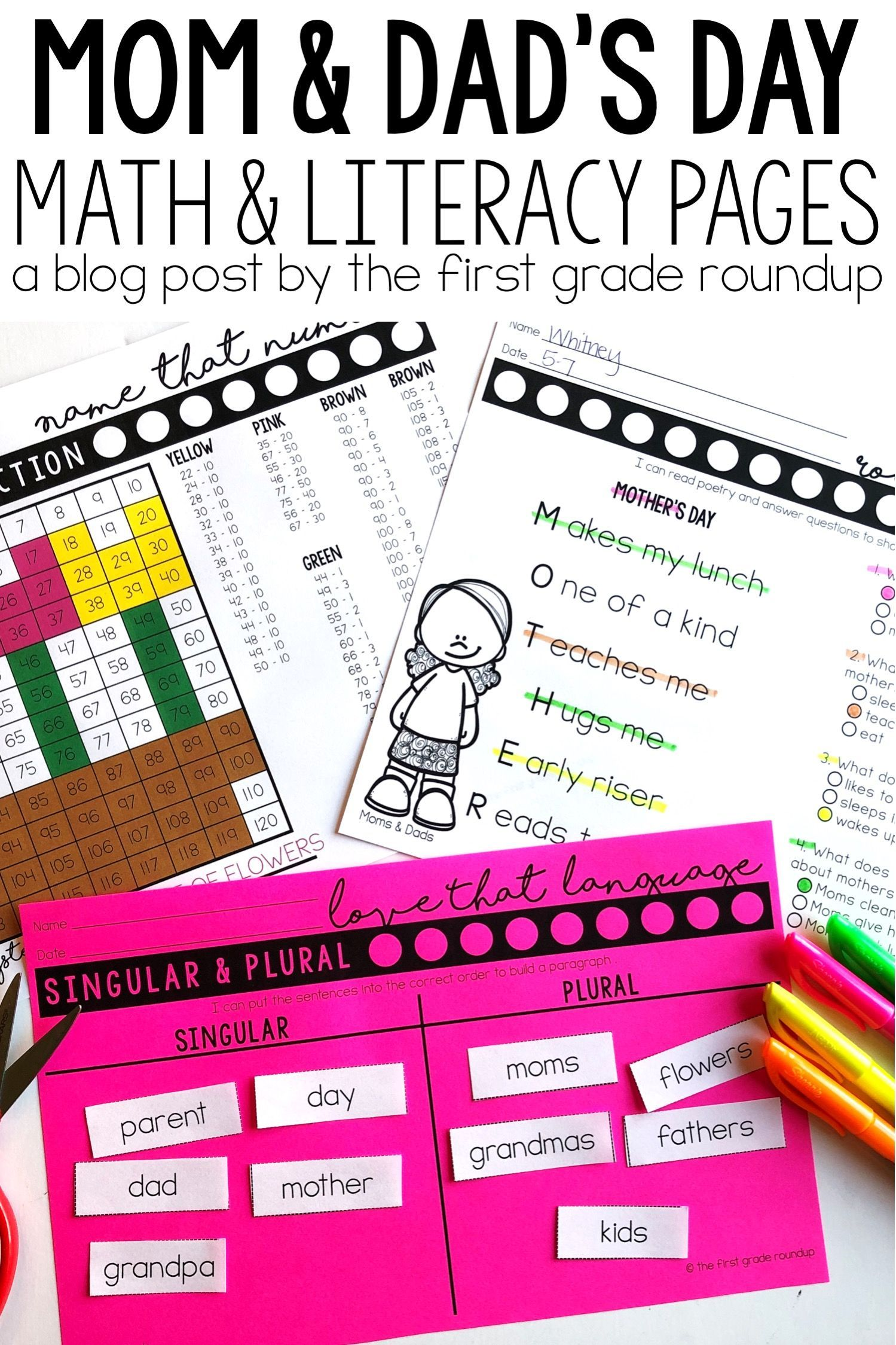 Mother S Day And Father S Day Worksheets For Math