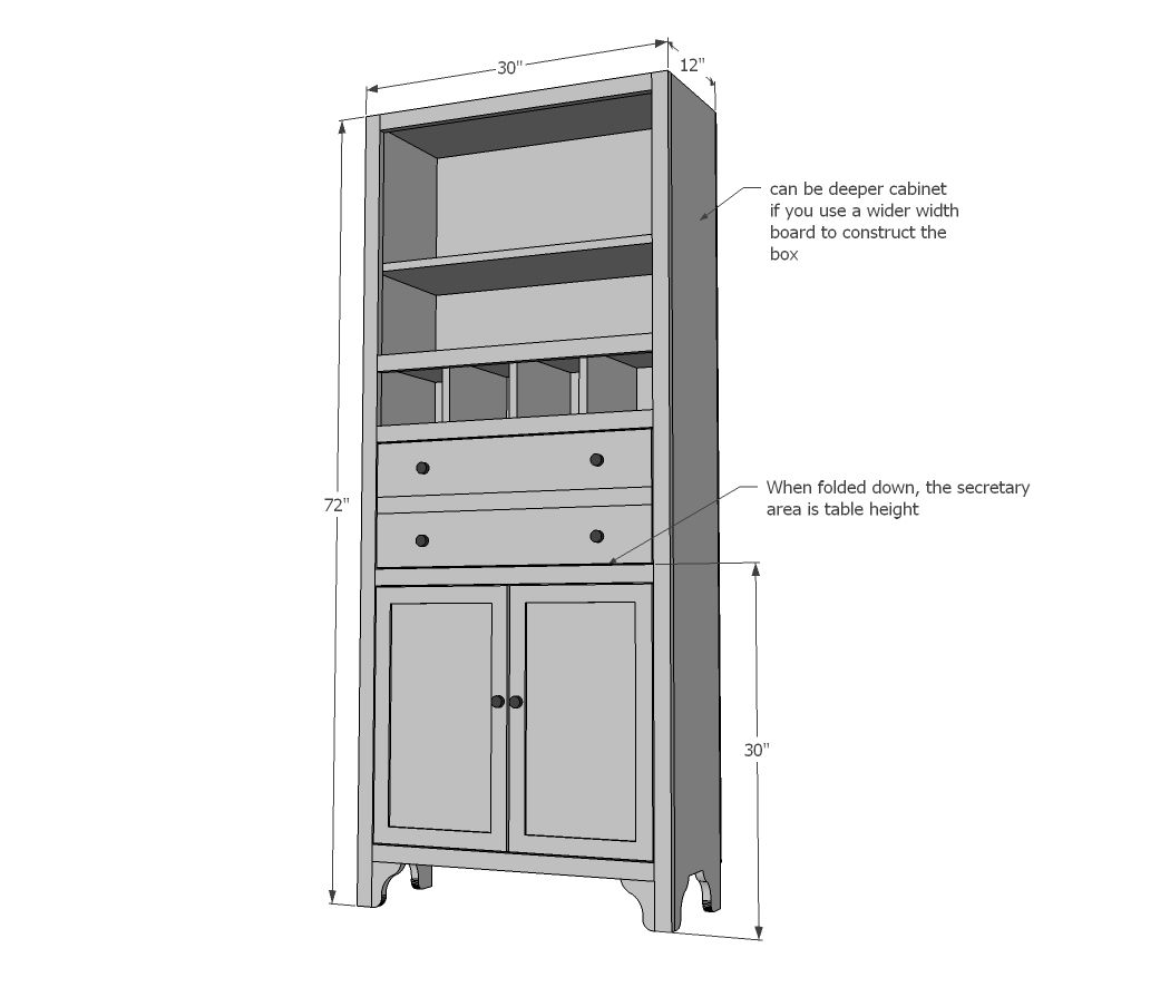 Best Tall Secretary Cabinet With Mail Slots Furniture Plans 400 x 300