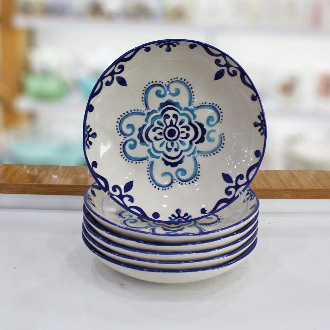 6 li yemek tabagi mavi desenli kapida odeme firsati 12 ay a varan taksit hediye paketi hizli kargo musteri memnuni mozaik fayans yemek takimi yemek tabagi