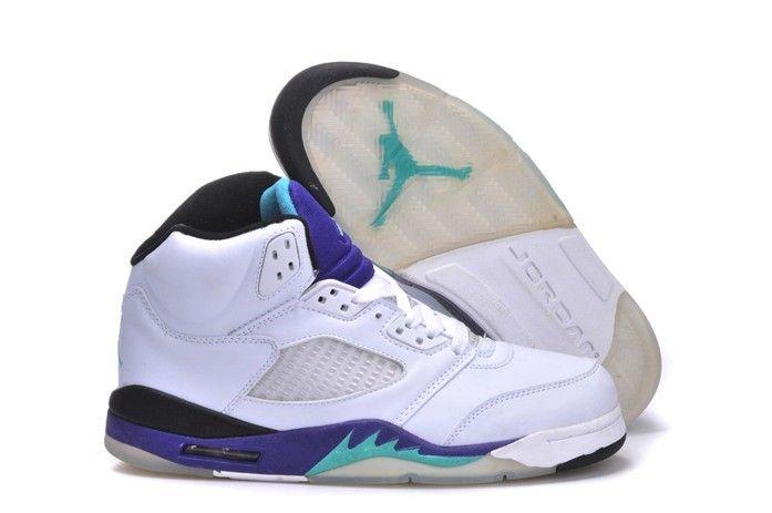 a45a7bd0560b Nike Air Jordan Retro Shoes 5 V Mens White Purple