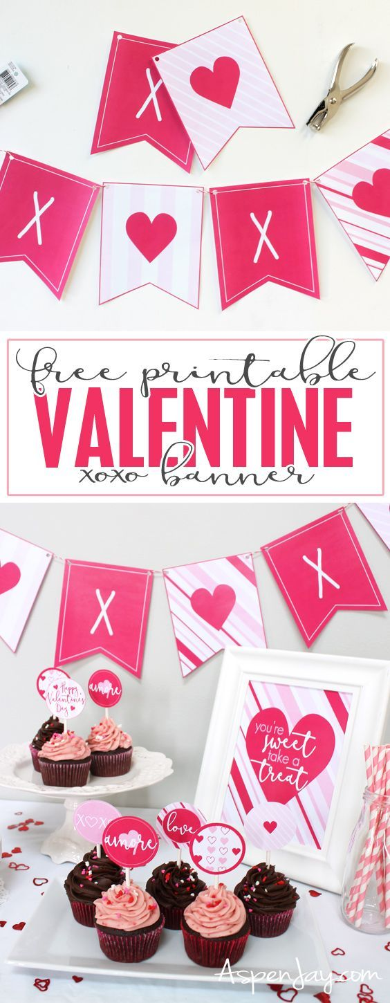 XOXO Banner for Valentine's Day {free printable (With ...